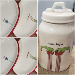 Rae Dunn bundle - 4 plates and canister